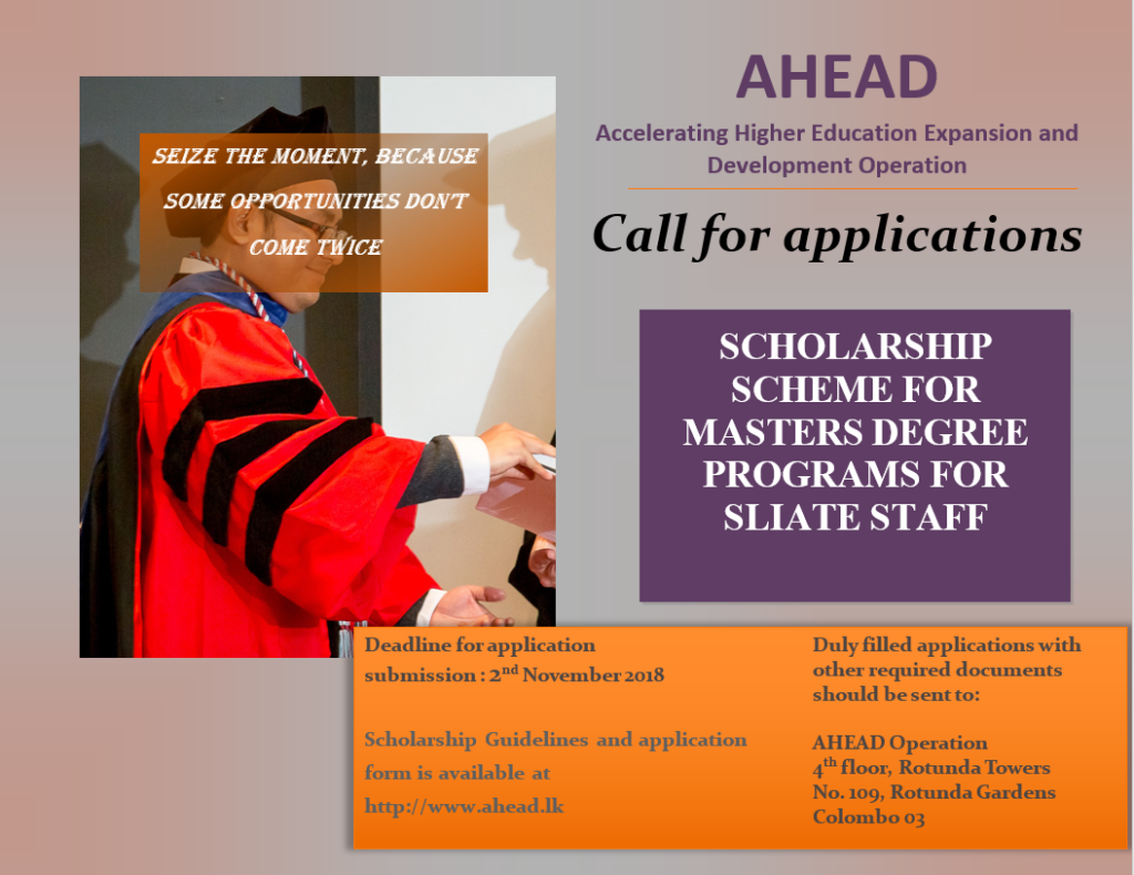 SLIATE call for applications for Masters program